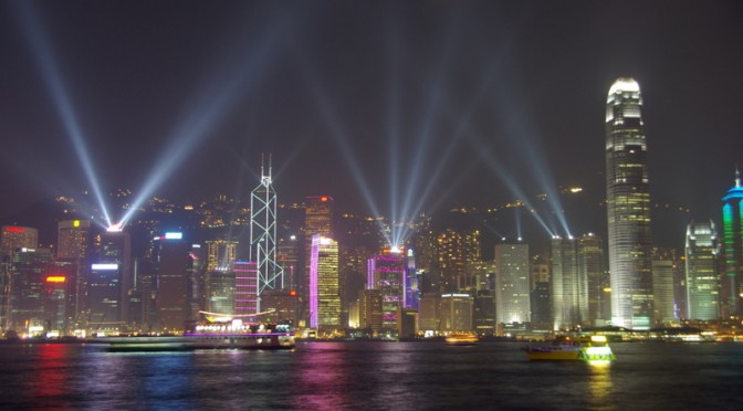 A Symphony of Lights over Hong Kong skyline